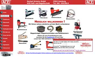 Screenshot Homepage ACE Heft- und Nageltechnik